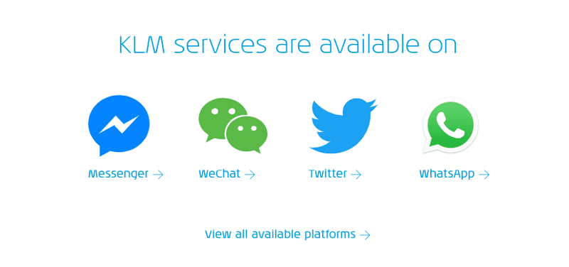KLM supports Facebook Messenger, WeChat, Twitter and WhatsApp for booking notifications.