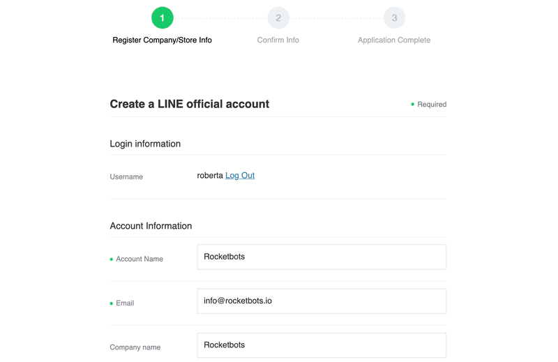 This screenshot shows the basic business information you need to add in order to create a Line Official Account