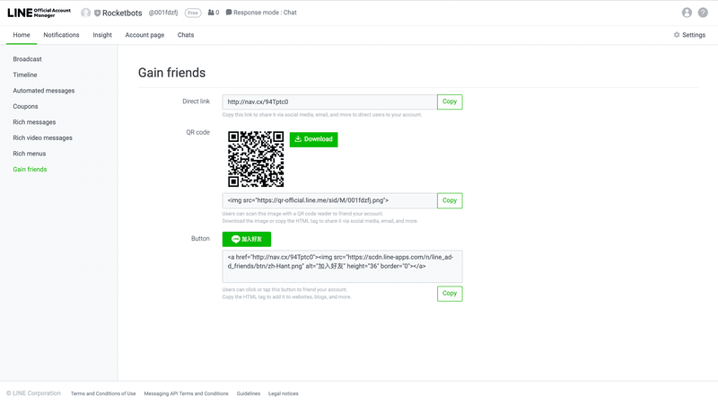 This is how you can create a direct link, or QR code from the Line Official Account Manager