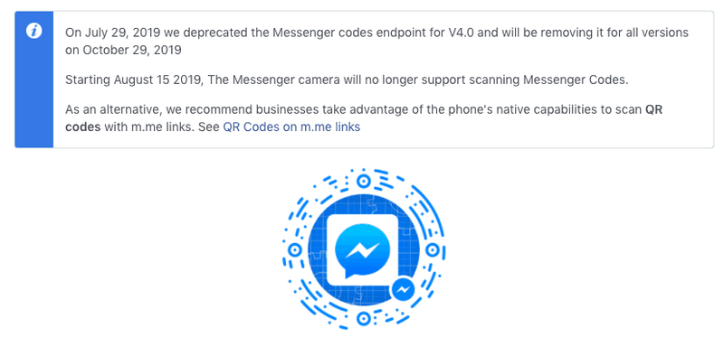 This is a picture showing a Facebook announcement that Messenger Codes are deprecated. However, you can still make qr code for facebook, find out how on our blog.