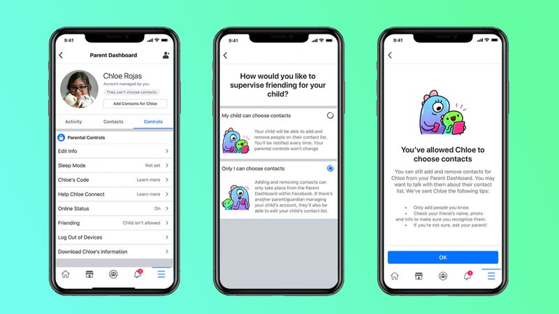 This is an image of the user interface of Messenger Kids. Messenger Kids is designed for a young audience. It has a kid-friendly GIF engine, safety filters that detect sexual & violent content, and other features that protect younger users from child predator threats.