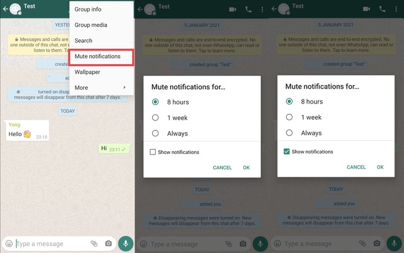 This picture shows how to mute notifications in a WhatsApp Group. Mute Notifications allows you to mute notifications for any WhatsApp Group for 8 hours, one day or one week. This feature is excellent if you have one group that is blowing up and you need a break from it for a while.
