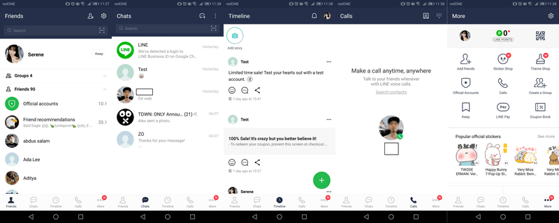 The app's 5 main panels which shows your friends, groups, timeline, calls and more.