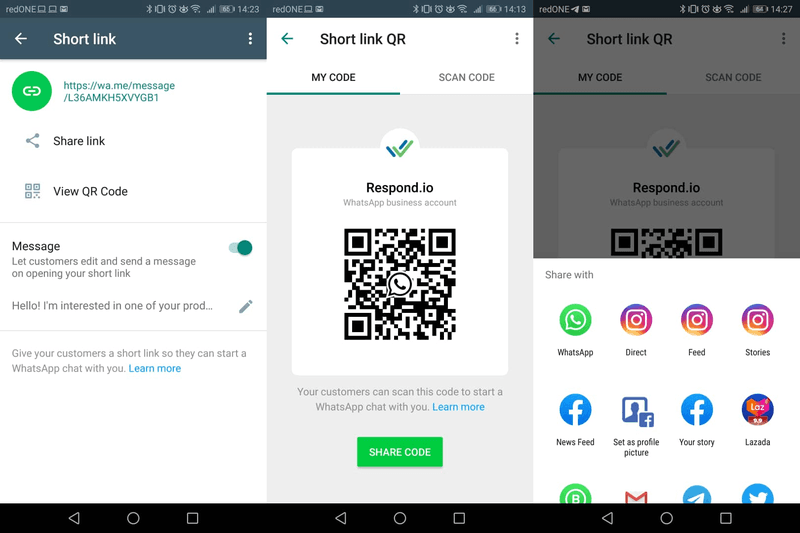 If you have a store with a lot of foot traffic, then placing a print-out of your WhatsApp Business App QR code at your physical storefront is a great way for customers to add you. To find your account's QR code, go to Business Tools > Short Link > QR Code.