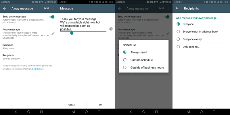 Another equally important automated message is the away message. Similarly, the away message can be enabled or disabled. Although, we would recommend leaving it on in case of someone messaging you when you're offline.