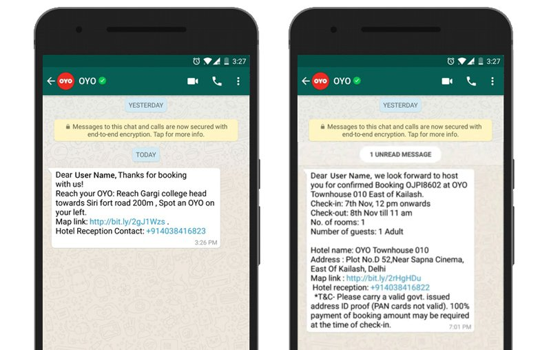 With WhatsApp dominating the messenger landscape in many if not most developing countries, it's not surprising that OYO an Indian hotel booking site is taking the lead in using WhatsApp for Customer Service. What OYO has set up here is not technically groundbreaking. Users can use the WhatsApp channel in 3 main ways: Receive a booking confirmation Receive hotel directions on the day of check in Cancel their booking.