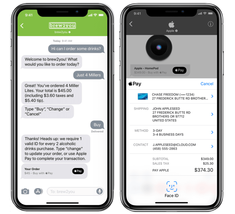 When a company sends a payment request, it will appear as a normal chat bubble and will include an Apple Pay logo. The customer can tap on the message to fill out an Apple Pay payment form that will open within the chat.