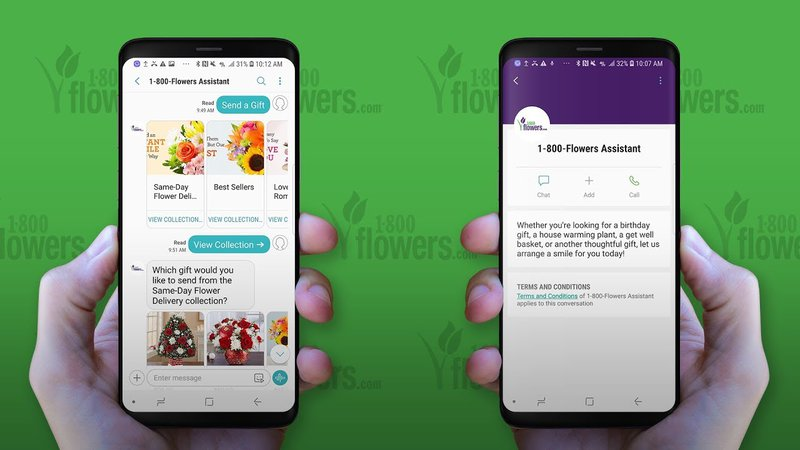 1-800-Flowers, retails and distributes flowers and gourmet food, is one of the first business to integrate RCS Business Messaging. With the UI templates and elements available with the protocol, 1-800-Flowers built the same carrousels and booking dialogs they have already created in Facebook Messenger. This allows customers to browse products, select optional extras and check out, all without visiting a website or downloading a messaging app.