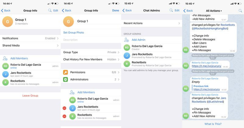 By checking our recent actions, you'll be able to see a complete log of all the changes that admins have made on Telegram Groups. Recent actions is a real-time Telegram Group changelog.