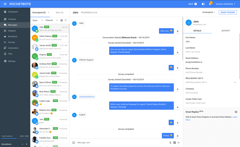 There is no need for a Dialogflow export history function. Just connect to Rocketbots with our Dialogflow integration and you'll have your chat history shown per contact.