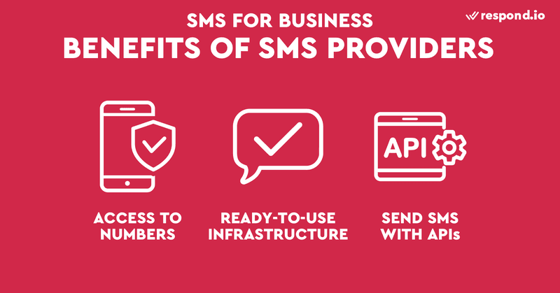 This is a picture of the benefits of SMS providers like Twilio. SMS providers like Twilio and Vonage have made it easier to get started with SMS business. You may purchase or lease any type of number directly from an SMS provider. SMS providers also made SMS more accessible to businesses, changing the way how business use sms. Traditionally, companies need to build specialized infrastructure before they can send SMS on a large scale. This is expensive and time-consuming. By connecting the internet to the phone network, SMS providers allow businesses to send and receive SMS text messages through APIs without building their own infrastructure. For more information on how business SMS and SMS twilio works, read our blog post.