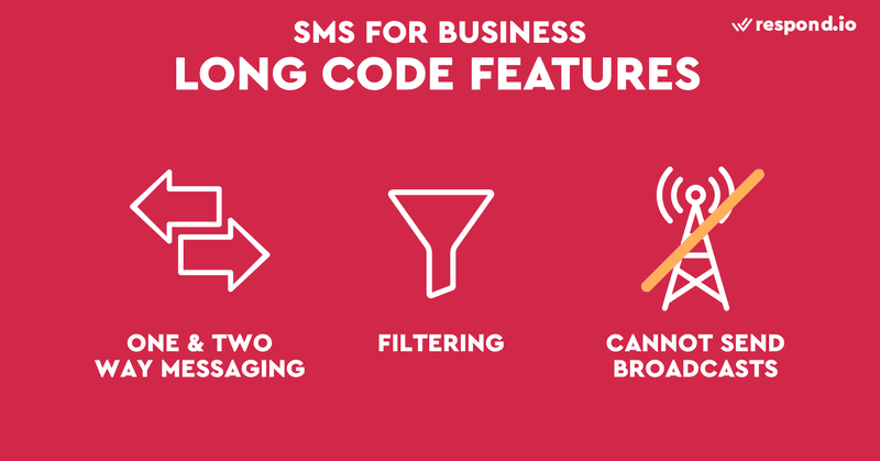 This is a picture of the main features of long codes. For businesses that want to provide customer service with a single point of contact, long code is the way to go. Long codes are also ideal for small businesses because they are relatively affordable and easy to set up. A long code is the standard 10-digit phone number capable of receiving voice calls. It begins with area code and it can be a landline or VoIP number. To find out how SMS benefit business, read our blog on SMS business.