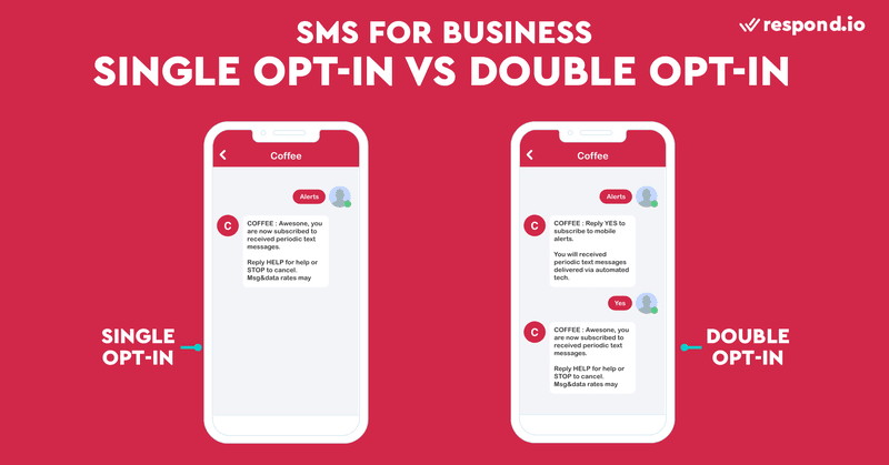 This is an image showing the difference between normal and double opt-in. To remain compliant, companies may go the extra mile and establish a double opt-in. Once a customer has opted in, ask them to confirm their consent. This can be as simple as replying with a YES.