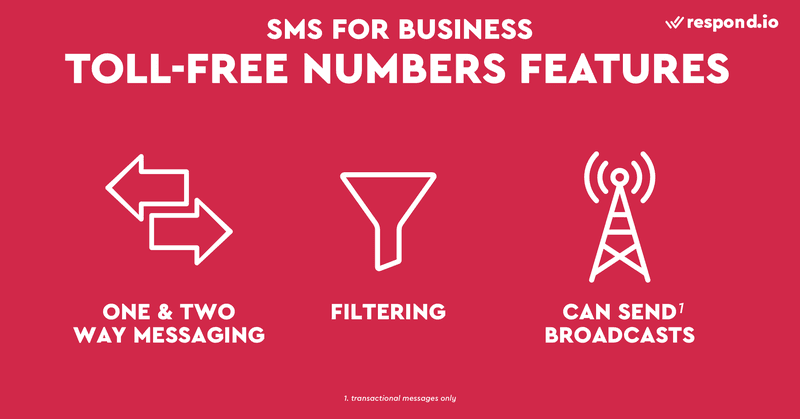 This is a picture of the main characteristics of SMS toll-free number. Toll-free numbers are great for businesses that want to send broadcast messages, but not ready to pay the hefty price tag of a short code. Toll-free numbers are 10-digit phone numbers like long codes, but start with a prefix like 1-800 or 1-888. While the dialing prefixes cannot be customized, businesses may opt for a vanity toll-free number that spells a name such as 1-800-FLOWERS. If you are wondering how to use sms for small business and how to send sms messages for my business to customers, read our blog post on SMS business.