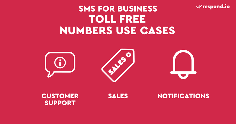 This is a picture showing the use cases of SMS toll-free numbers.  Toll-free numbers are the most versatile type of number. They work well for both broadcast and 1:1 communications. Its use cases include account alerts, notifications, OTPs, verification codes as well as customer support and sales. In some countries, toll-free numbers are not allowed to send marketing SMS. Sending promotional SMS from a toll-free number may result in carrier filtering and delivery failure. Spam sms filtering using machine learning may prevent the delivery of promotional SMS broadcast.