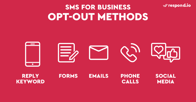 This is a picture showing the different ways to opt-out for SMS business . Managing opt-outs is just as important as managing opt-ins. Failure to honor opt-out requests can put your business at risk of legal action and fine. Regardless of the type of number that you're using, you should always act on all opt-out requests. The most common way to opt-out is to reply *STOP*, or equivalent keywords such as *END* and *CANCEL* to a number. SMS providers are able to handle standard opt-out reply messages and send automatic standard replies.