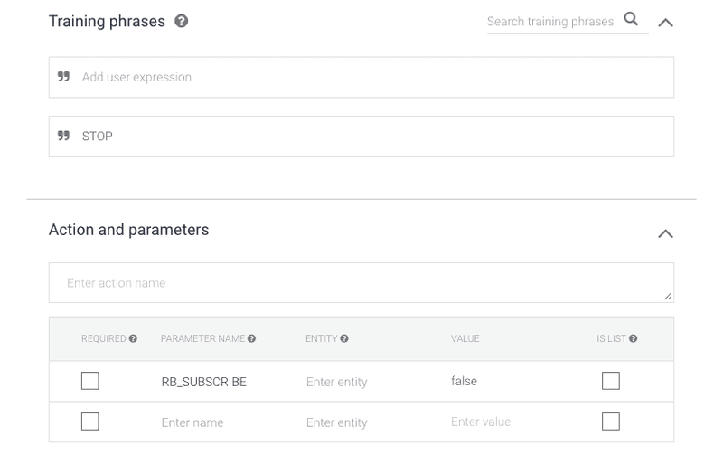 When using Rocketbots to create Dialogflow Broadcasts you will occasionally see users who type stop, this image shows how you can use the RB_SUBSCRIBE Parameter to Dialogflow Parameters