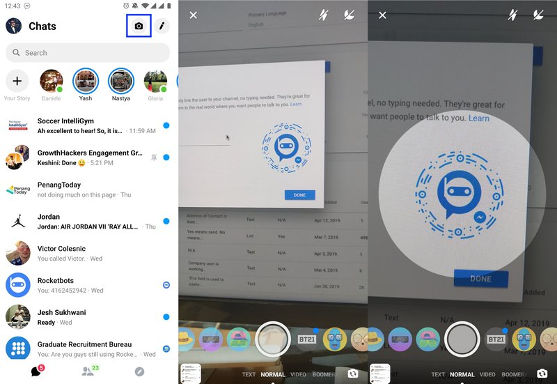 This image shows how to open the Facebook Messenger App and Scan a Facebook Messenger QR Code. Although Messenger Code has been discontinued, you can still make qr code messenger, check out the step-by-step guide on our blog.