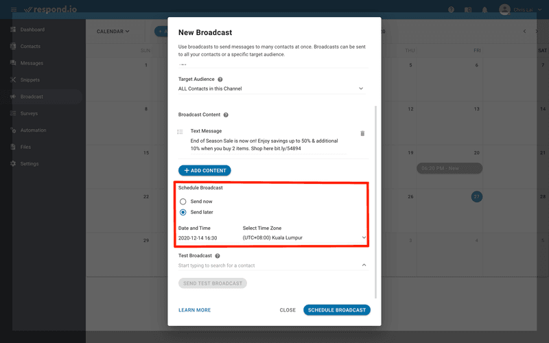 This is an image showing the Schedule SMS Broadcast feature on respond.io. If there are events lined up in your calendar, you can schedule the SMS broadcast in advance. Set the date and time to send your SMS broadcast and make sure to select the correct time zone. Learn more about mass text messaging and SMS marketing on our blog.