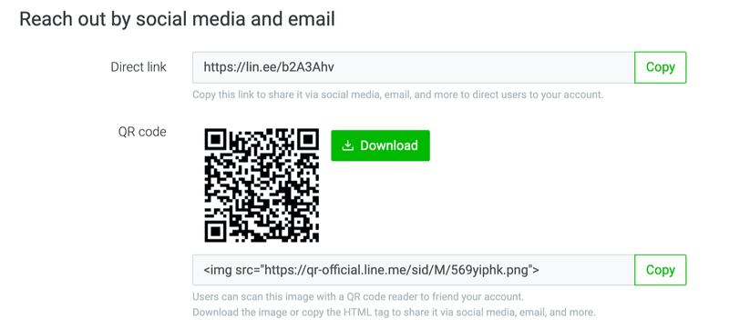 Share your LINE Official Account using direct links and QR codes from your LINE Official Account Manager or LINE Official Accounts Platform