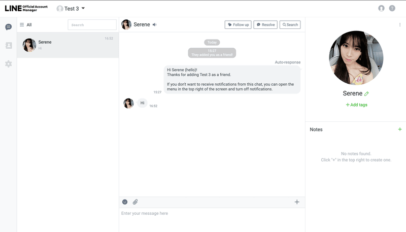 You can view and respond to messages on your LINE Official Account Manager Chat Console
