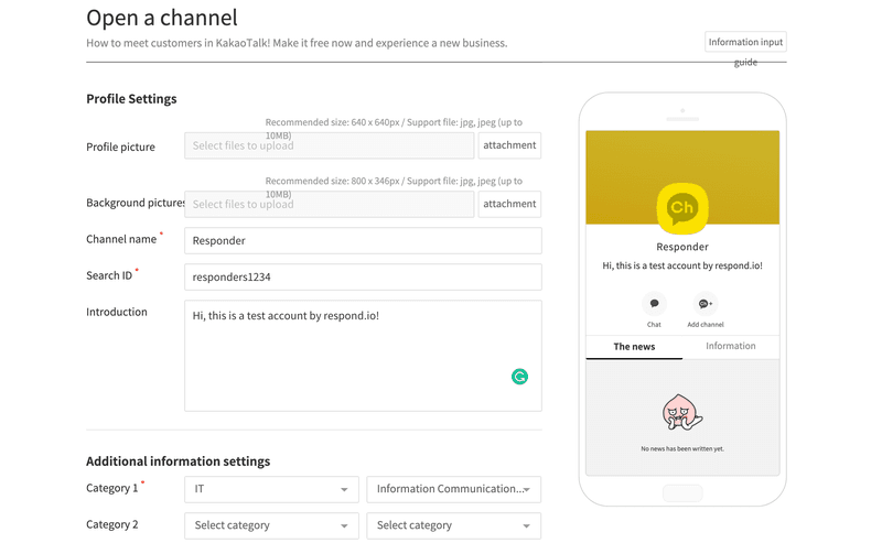 Opening a channel on Kakao for Business platform