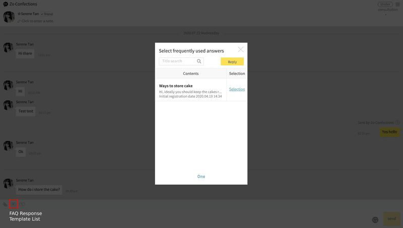 FAQ template when replying to your  contacts on Kakao