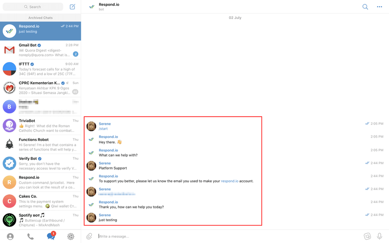 Chat with the Telegram Bot by clicking start.