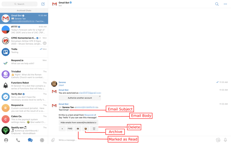 This is how the Gmail bot looks like when an email is received. All emails received with the Gmail Bot appears as instant messages on Telegram.