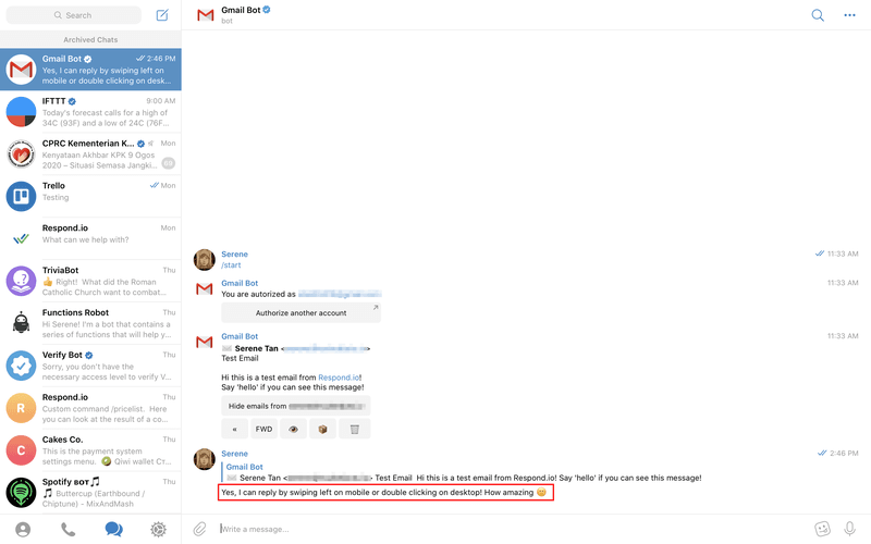You can swipe left on mobile or double click to reply with the Gmail Bot on the desktop.