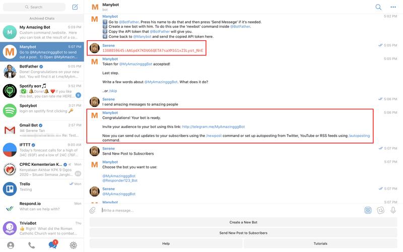 Create a new Telegram Bot with Manybot.