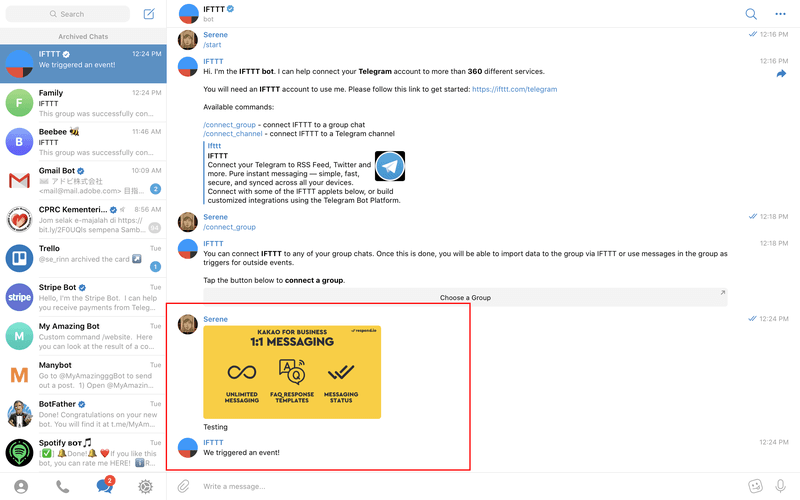Upload a file on the IFTTT Bot, and it'll automatically sync to your Google Drive.