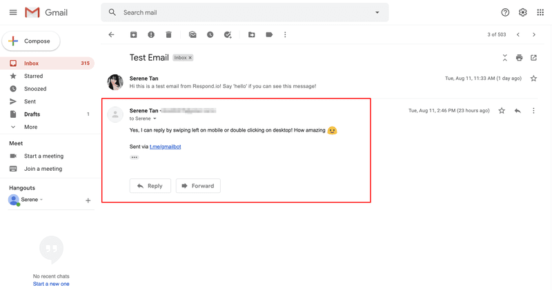 You can also view the same reply from Telegram on Gmail.