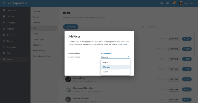 Things are straightforward once you're connected to respond.io. You can easily add, manage and delete users with just a click of a button. If you have a new joiner, simply invite them to your team. This is how you add multiple users with WhatsApp API and solve the WhatsApp for Business multiple users problem.