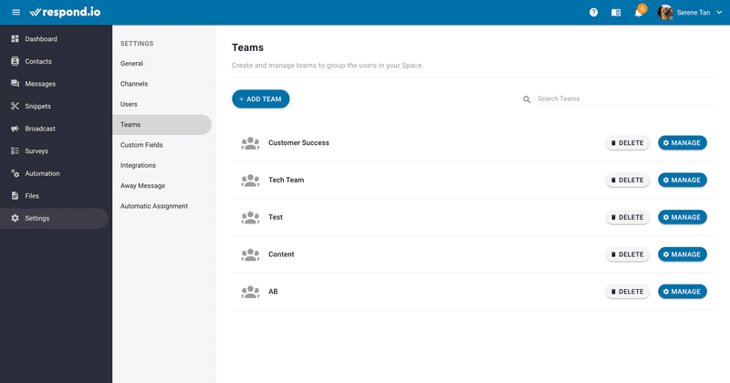 With multiple teams under the same space, organize them by adding and deleting a team, change the name and description and add or remove users. If you have a long list of teams, there's also a search teams function to help you navigate quickly.