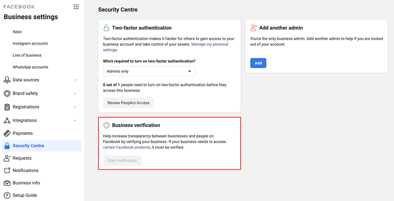 This is a picture showing how to Verify WhatsApp Business Account on Twilio. First, you need to Verify your Facebook Business Manager account. Go to Business Settings on your Facebook Business Manager and click Security Center.
