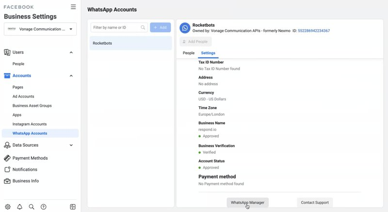 This is an image of how to create WhatsApp chat Template via Vonage from Facebook Business Manager. Navigate to WhatsApp Manager under the Settings tab.