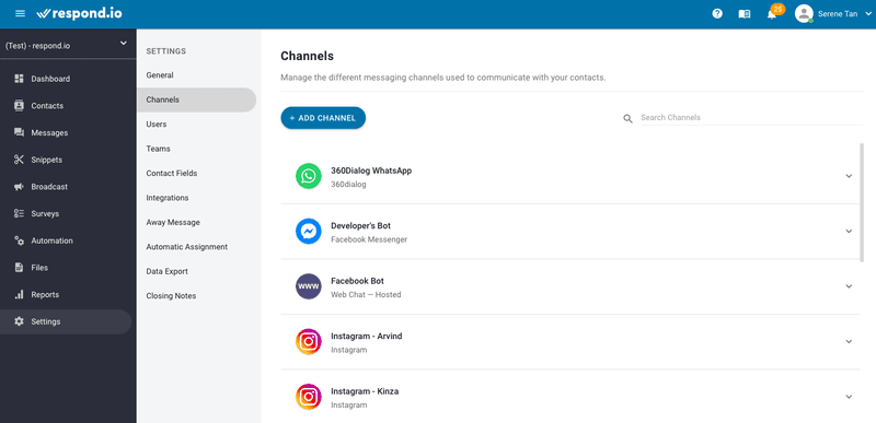 Respond.io supports integrating Instagram Messaging API and other messaging channels.
