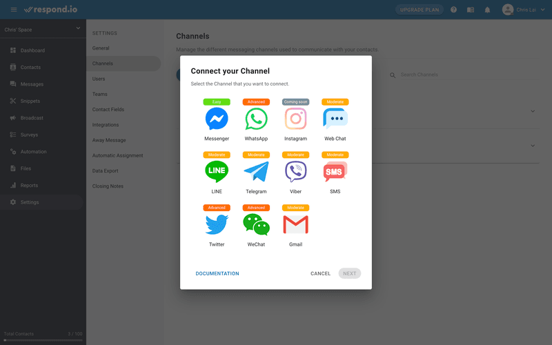 This is an image about how respond.io Make Agents Lives Easier With Omnichannel Capability. Respond.io supports all the popular channels, including mainstream apps like WhatsApp, Messenger, and Instagram. It also supports niche messaging apps such as Telegram, Viber, WeChat and LINE, which are popular in certain countries.