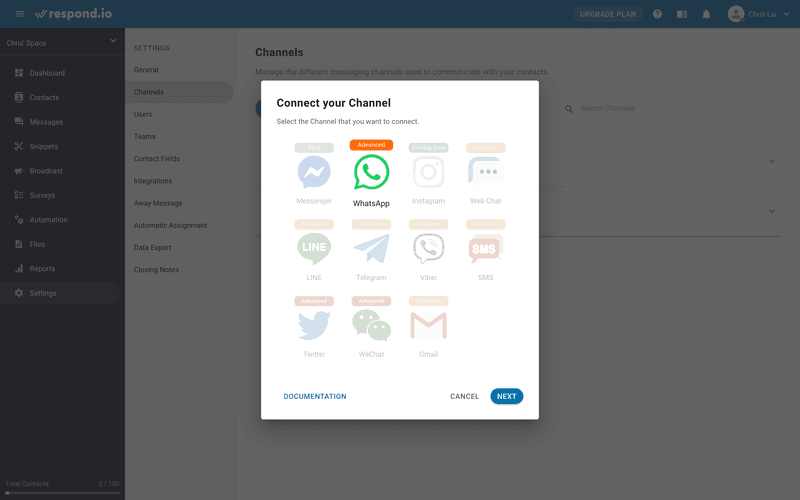 This is a picture showing how to set up respond.io with Vonage WhatsApp Integration. To connect your Vonage WhatsApp API to respond.io, select WhatsApp and click Next.