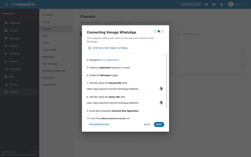 This is an image showing how to Vonage chat api to respond.io. To connect your Vonage WhatsApp API to respond.io, navigate to Vonage dashboard > Create a New Application. Then, give your application a name.