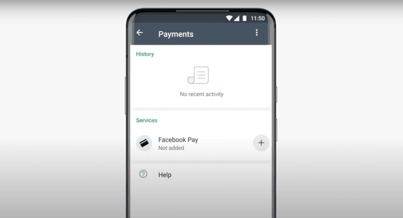 Add Facebook Pay to set up WhatsApp Pay in Brazil.