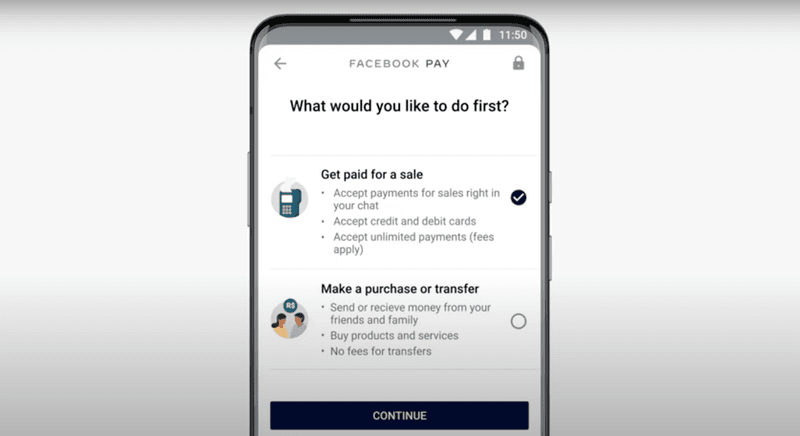 Select whether you'd like to get paid or pay someone first.