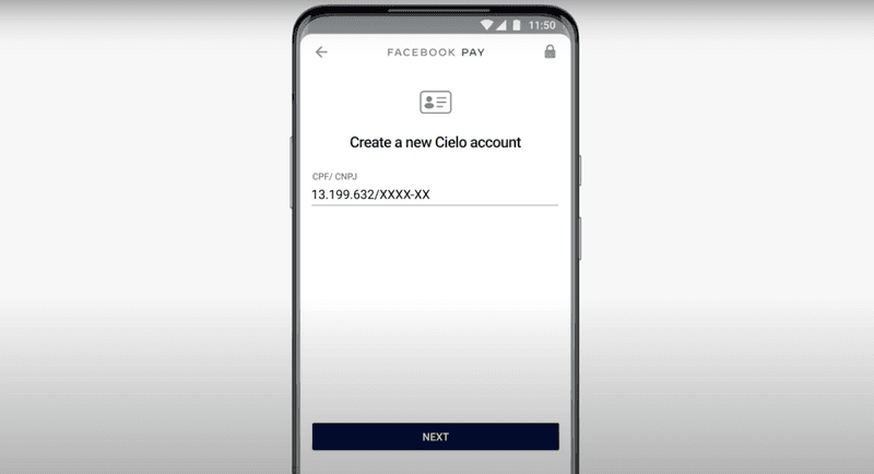 Set up a Cielo account by adding your CPF/CNPJ number.
