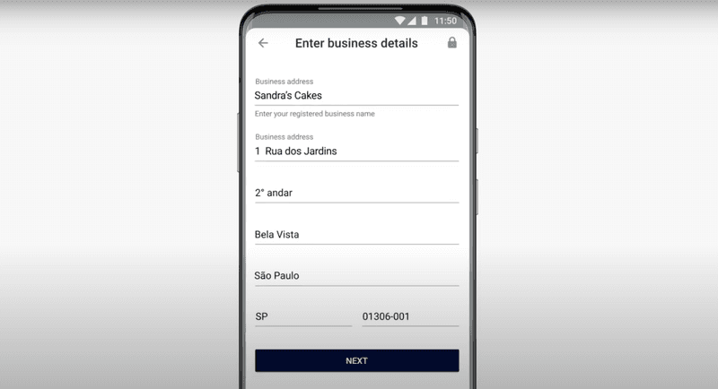 Enter your business details to set up WhatsApp Pay Brazil.