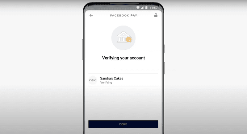 Verify your account to complete set up for WhatsApp Pay.