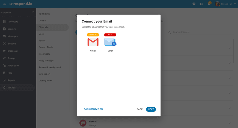 Click Other when connecting email from other email providers