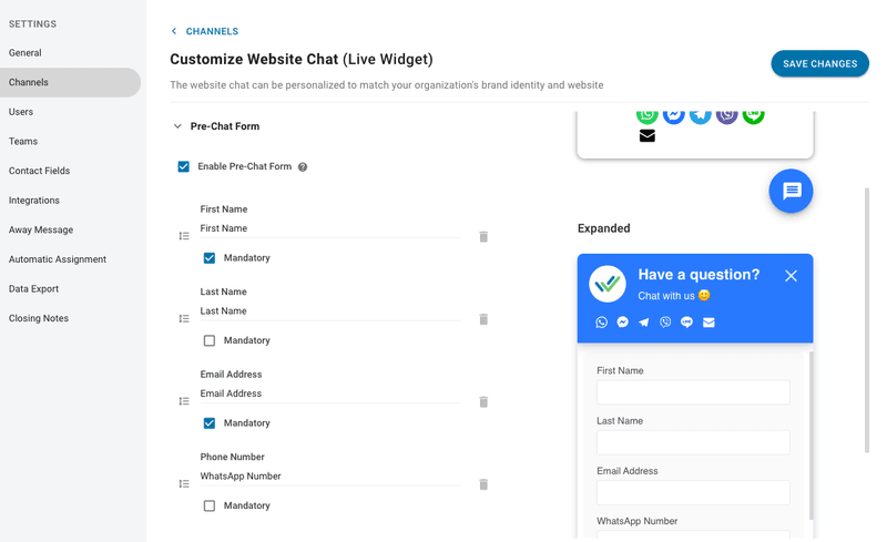 You can now customize your pre-chat form on es.respond.io
