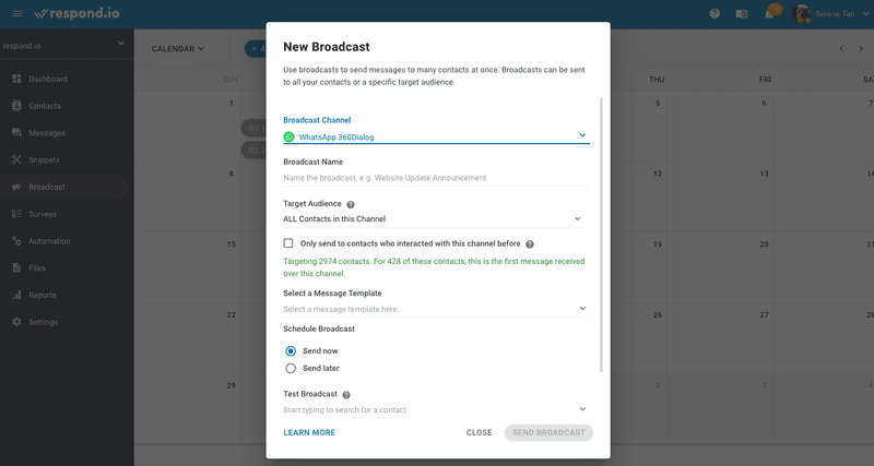 Sending a broadcast after importing contacts on es.respond.io