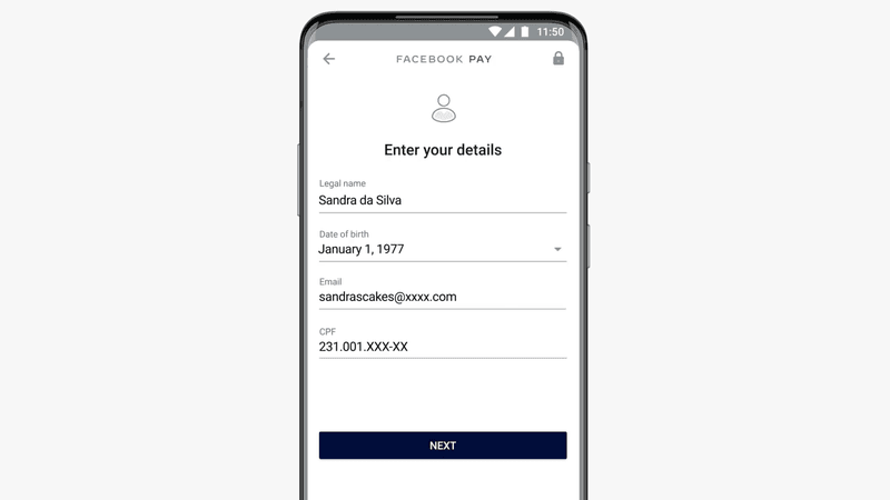 This image shows how to enter your details to activate the Payments feature.